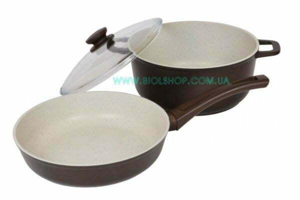 Антипригарная сковорода и кастрюля в наборе Мокко (22 см и 3 л) заказать в Украине