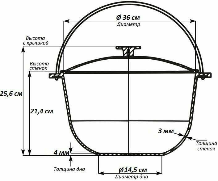 Казан алюминиевый походный Биол с крышкой 15 л К1500т схема