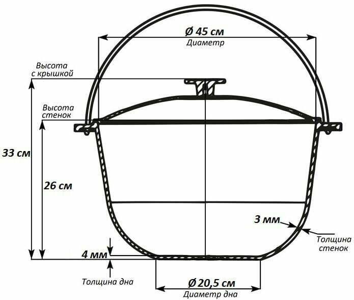 Алюминиевый казан для туризма Биол с крышкой и дужкой 30 л К3000т схема