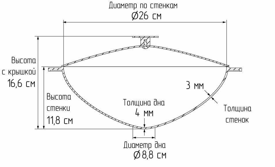 Алюминиевый татарский казан с крышкой литой Биол 4 л КТ0400 схема
