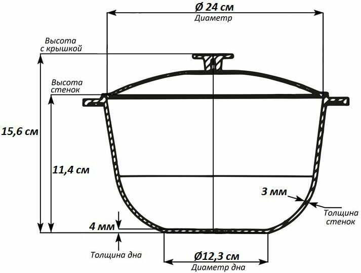 Казан с крышкой алюминиевый литой Биол 4 л К0400 схема
