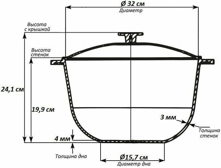 Литой алюминиевый казан 12 л Биол с крышкой К1200 схема