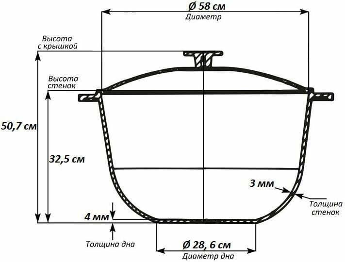 Алюминиевый казан Биол с крышкой 60 л К6000 схема