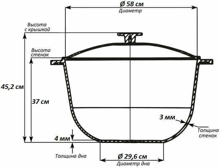 Казан алюминиевый 70 л Биол с крышкой К7000 схема