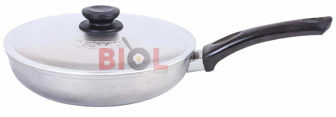 Алюминиевая сковорода Биол с ручкой и крышкой 26 см купить