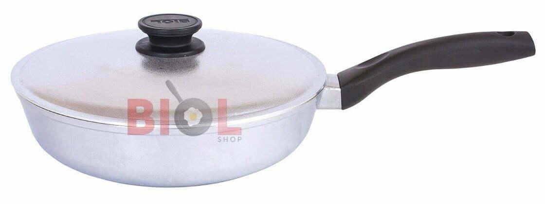 Алюминиевая сковорода высокая с крышкой Биол Блеск 24 см купить