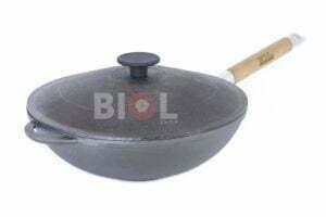 WOK сковорода чугунная с ручкой и крышкой 26 см Биол 15261