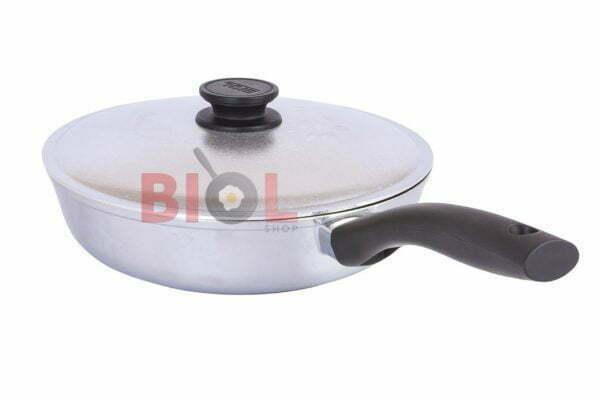 Высокая алюминиевая сковорода с крышкой Биол Блеск 20 см купить