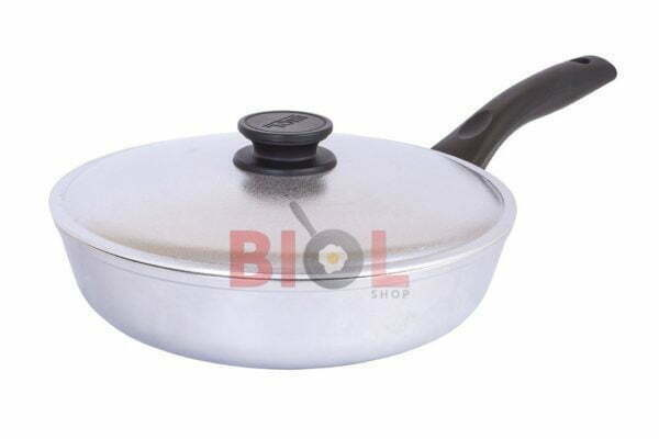 Сковорода алюминиевая Биол высокая с крышкой