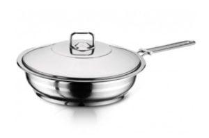 Сковорода из нержавеющей стали с крышкой 18 см Hascevher Gastro