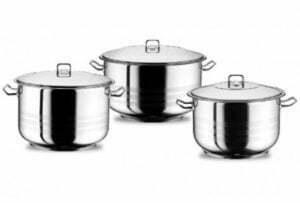 """Набор посуды """"Arian"""" из трех единиц нержавеющей стали"""