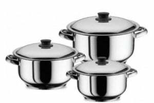 Наборы посуды из нержавеющей стали (кастрюля, сковорода, ковш)