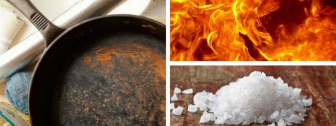чистить от ржавчины чугунную сковороду