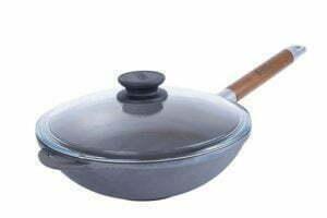 Сковорода чугунная WOK с ручкой и крышкой