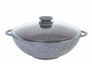 Сковорода Wok «Гранит грей» со стеклянной крышкой