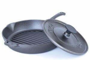 Сковорода гриль чугунная круглая с крышкой прессом