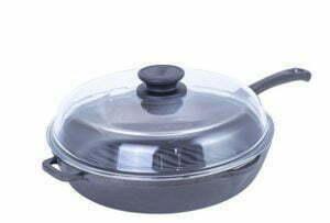 Сковорода гриль круглая со стеклянной крышкой