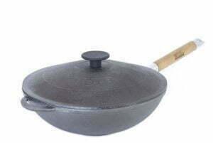 Сковорода чугунная WOK с ручкой и чугунной крышкой