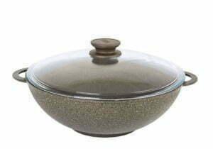 Сковорода Wok «Гранит браун» со стеклянной крышкой