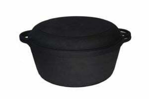 Кастрюля с крышкой-сковородой чугунная 8 л