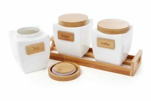 Набор банок 0,800 л для сыпучих продуктов на деревянной подставке Naturel BonaDi