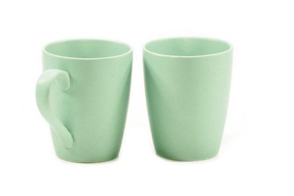Зеленые керамические чашки 300 мл Фиссман набор купить