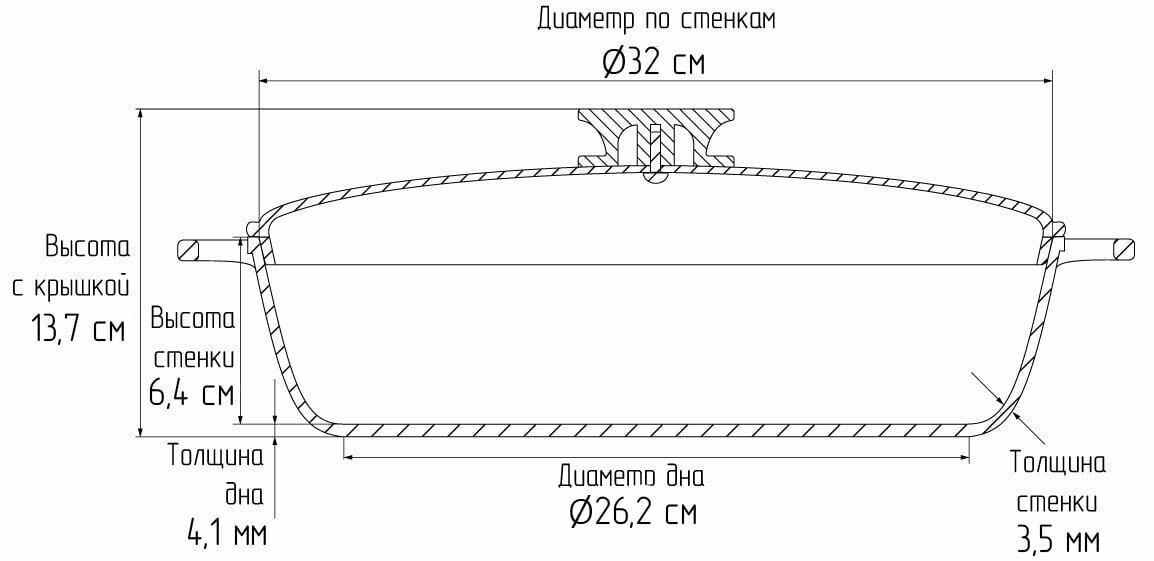 Чугунная жаровня со стеклянной крышкой с 2 ручками Биол 32 см схема