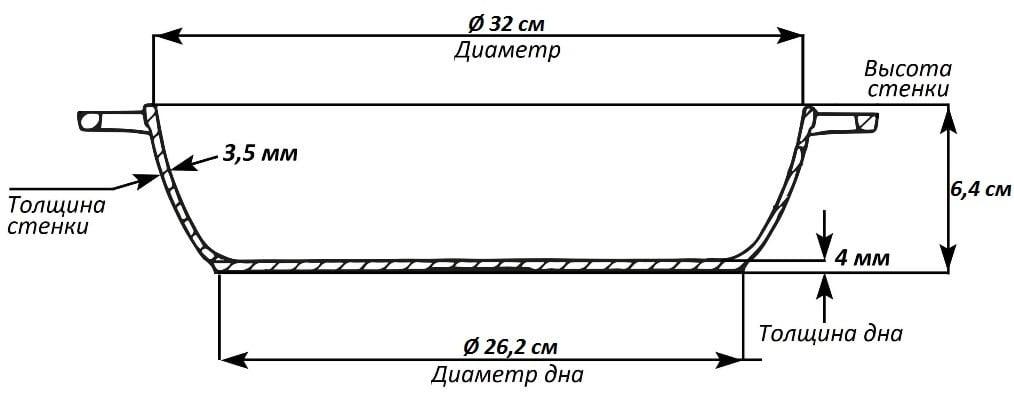 Чугунная жаровня Биол с двумя литыми ручками 32 см 1732 схема