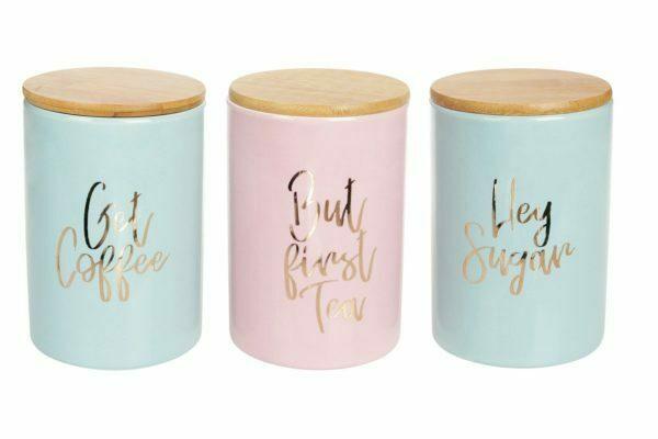 Набор керамических банок BonaDi 800 мл с бамбуковыми крышками Tea Time 304-907