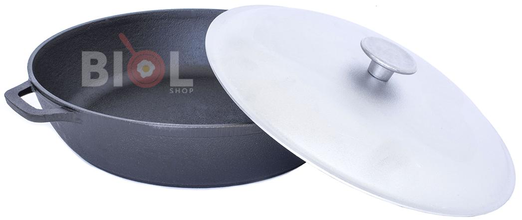 Чугунная жаровня с алюминиевой крышкой Биол 260 мм купить в Украине