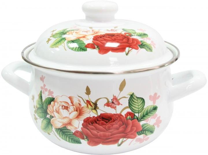 Кастрюля 1,95 л эмалированная IL Primo Roses IP-030905-18 купить недорого онлайн