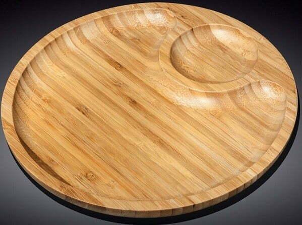 Блюдо на две секции бамбуковое Wilmax Bamboo 25 см WL-771043 купить недорого онлайн