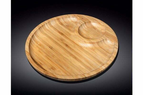 Блюдо на две секции бамбуковое Wilmax Bamboo 25 см низкая цена