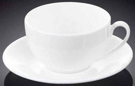 Чашка кофейная с блюдцем Wilmax 120 мл из фарфора WL-993188 / AB купить недорого онлайн