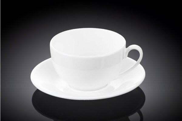Чашка кофейная с блюдцем Wilmax 120 мл из фарфора WL-993188 / AB