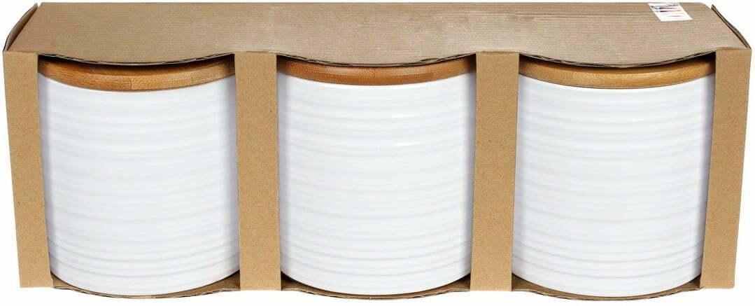 Набор керамических банок 550 мл с бамбуковой крышками 304-904 фото и характеристика