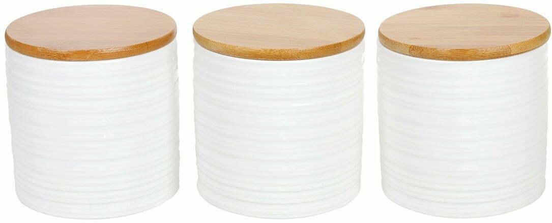 Набор керамических банок 550 мл с бамбуковой крышками 304-904 купить недорого онлайн