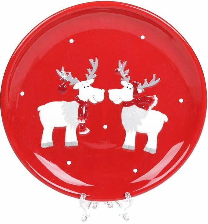 Тарелка керамическая Братцы олени 22 см BonaDi 834-322 купить недорого онлайн