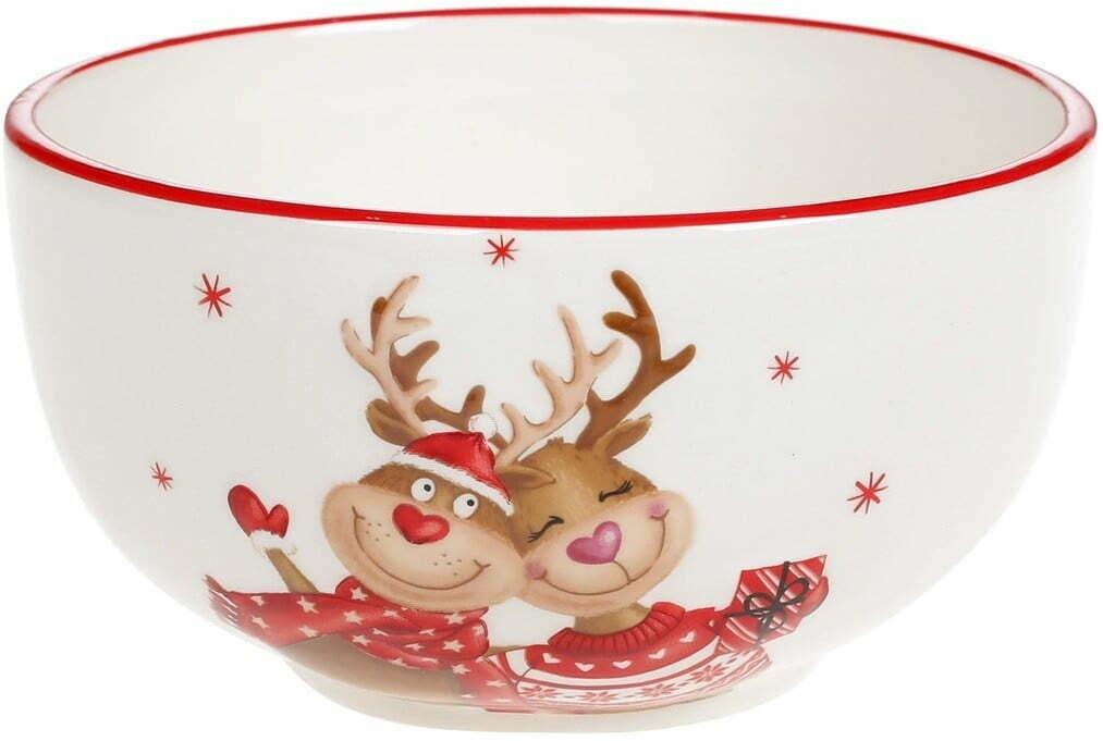 Пиала керамическая BonaDi с объемным рисунком Новогодние Олени 700 мл DM701-X купить недорого онлайн