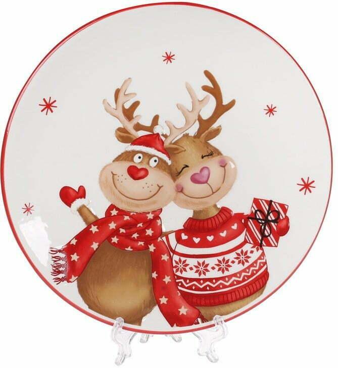 Тарелка керамическая BonaDi Новогодние Олени 21 см DM724-X купить недорого онлайн