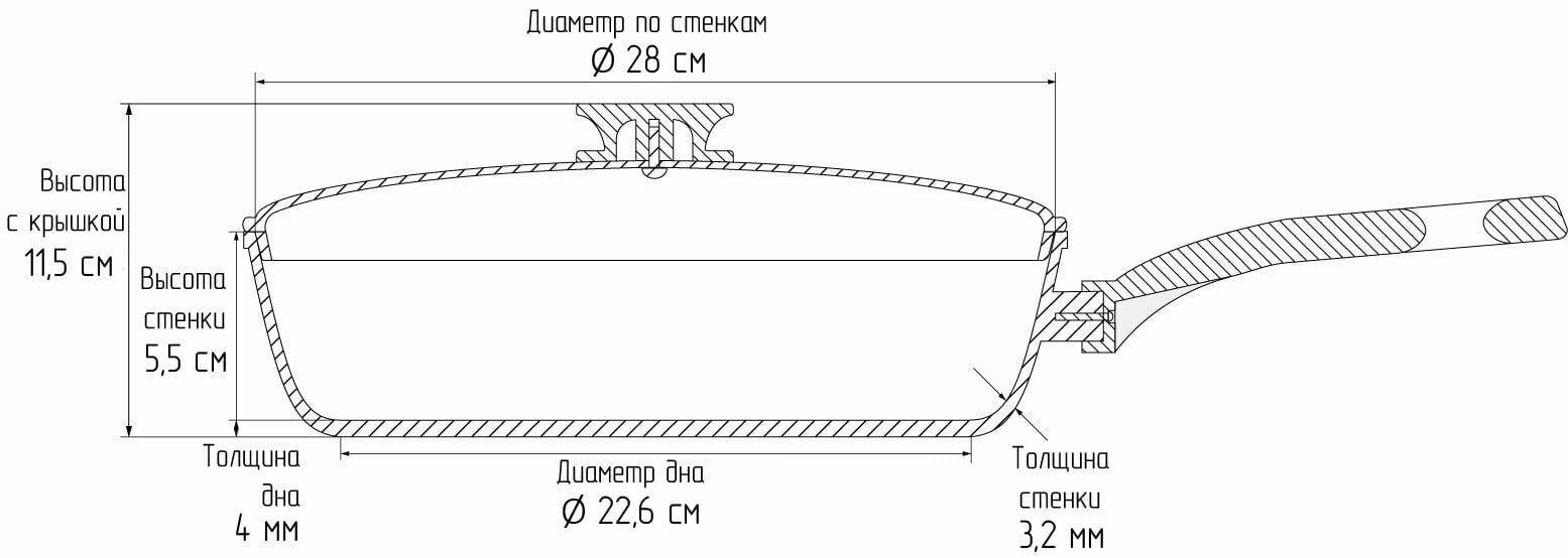 Сковорода антипригарная со стеклянной крышкой Биол ELITE 28 см 2816Л схема