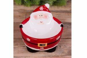 Фарфоровая подставка под конфеты -пиала Санта Клаус