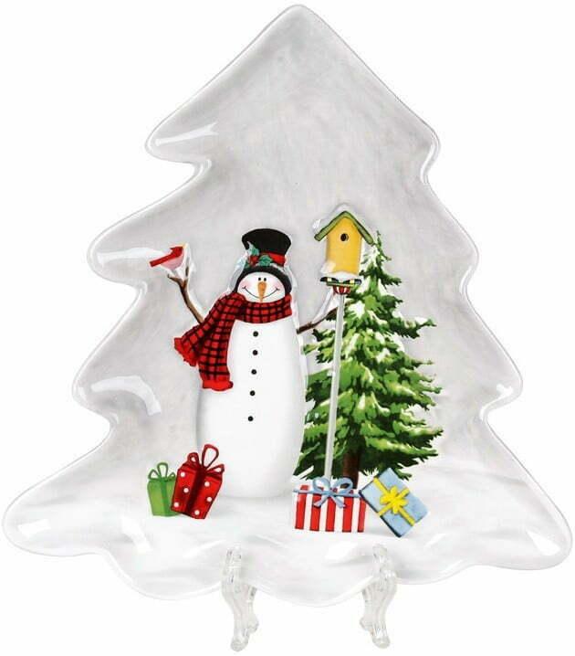 Блюдо керамическое Веселые снеговики 21,5х20,5 см BonaDi 811-005 купить недорого онлайн