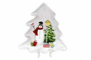 Блюдо керамическое Веселые снеговики 21,5х20,5 см BonaDi 811-005