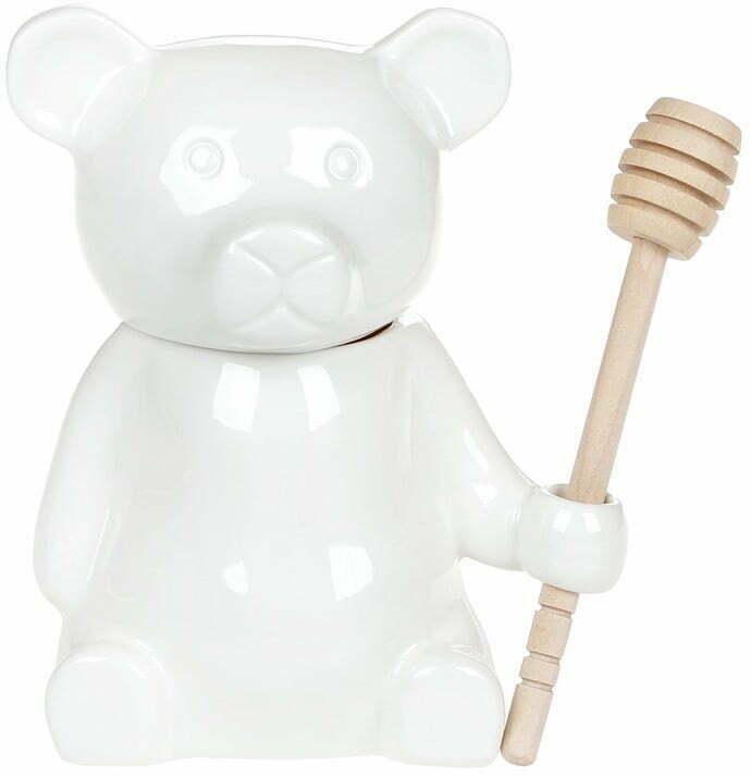Медовница фарфоровая 280 мл Мишка с деревянной ложкой Naturel BonaDi 938-011 купить недорого онлайн