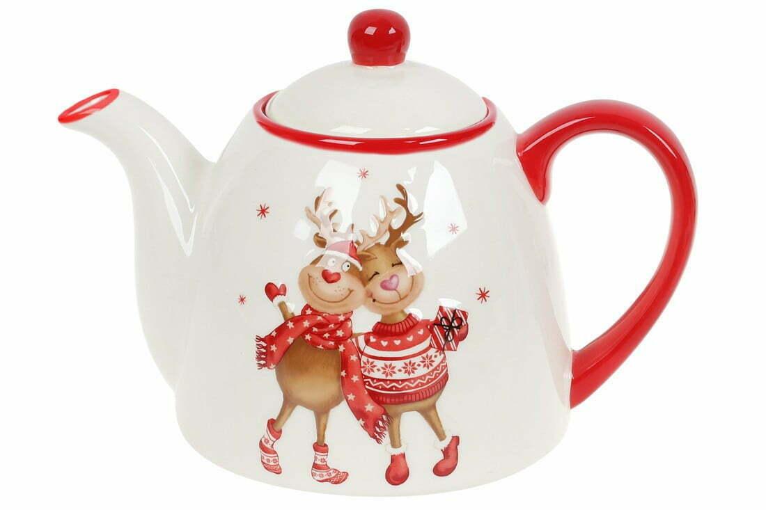 Чайник керамический 900 мл с рисунком Новогодние Олени BonaDi DM719-X купить недорого онлайн