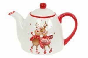 Чайник керамический 900 мл с рисунком Новогодние Олени BonaDi DM719-X