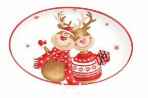 Блюдо керамическое Новогодние Олени 29 см BonaDi Merry Christmas DM721-X