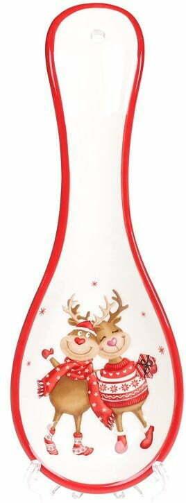 Подставка под ложку керамическая Новогодние Олени 24 см BonaDi DM729-X купить недорого онлайн