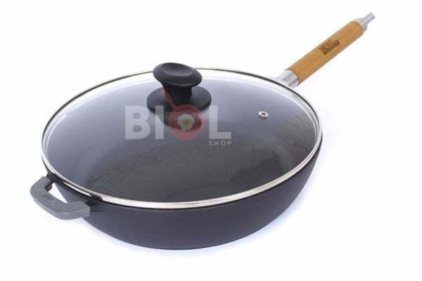 Сковорода чугун Биол матовое эмалированное покрытие с крышкой